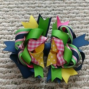 Other - Navy/Pink/Green/Yellow Bow